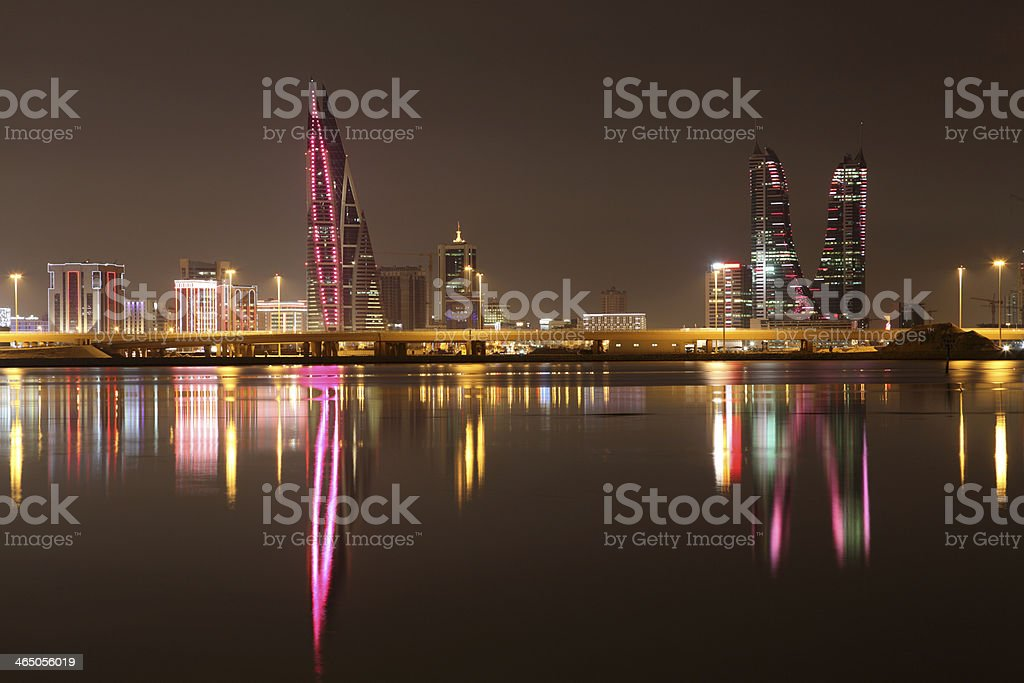 Manama skyline at night. Bahrain stock photo