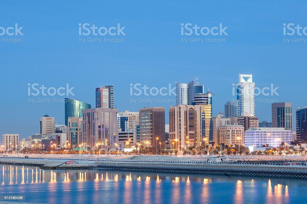 Manama skyline at night, Bahrain stock photo