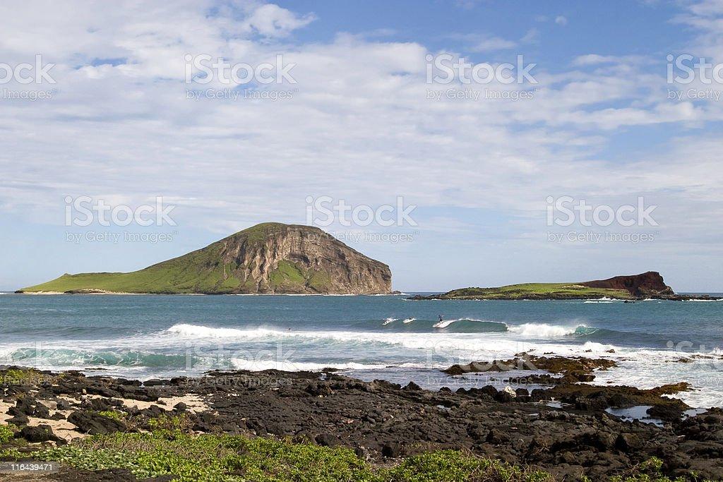 Manana (Rabbit) and Kaohikaipu islands from Makapuu stock photo