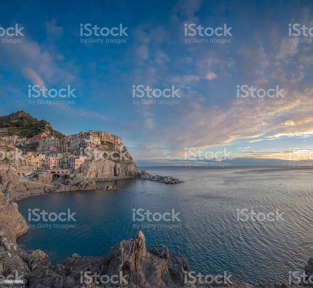 Manarola at sunny day, Cinque Terre National Park, Ligurian Italy stock photo