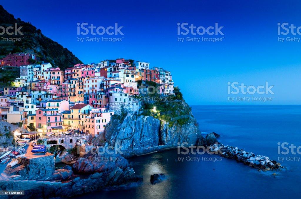Manarola Cinque Terre at night, Liguria Italy stock photo