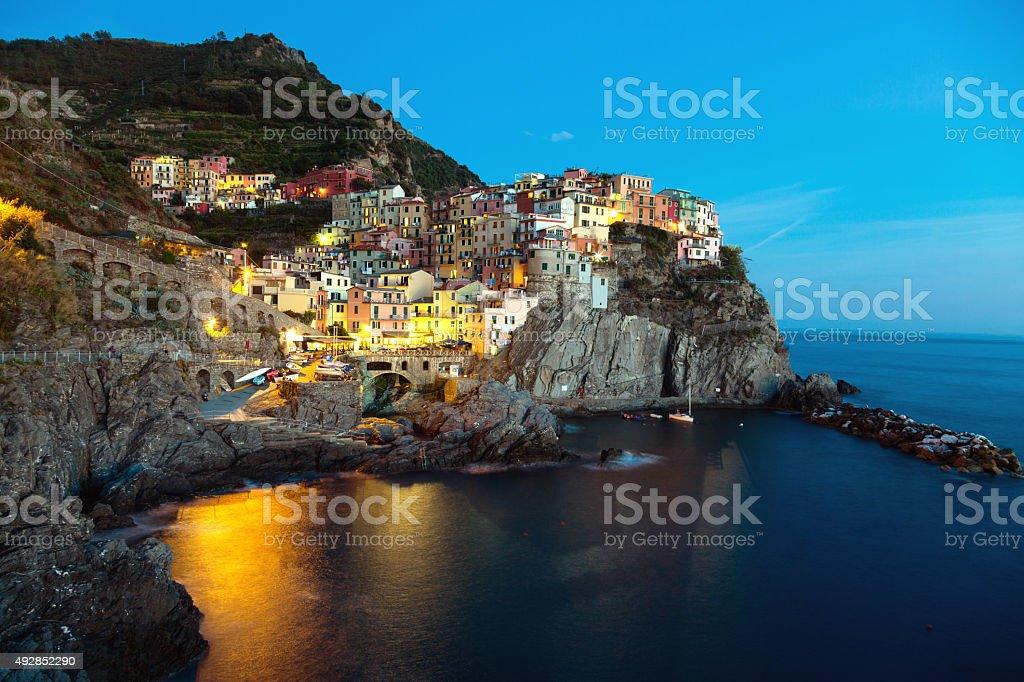 Manarola, Cinque Terre by night stock photo