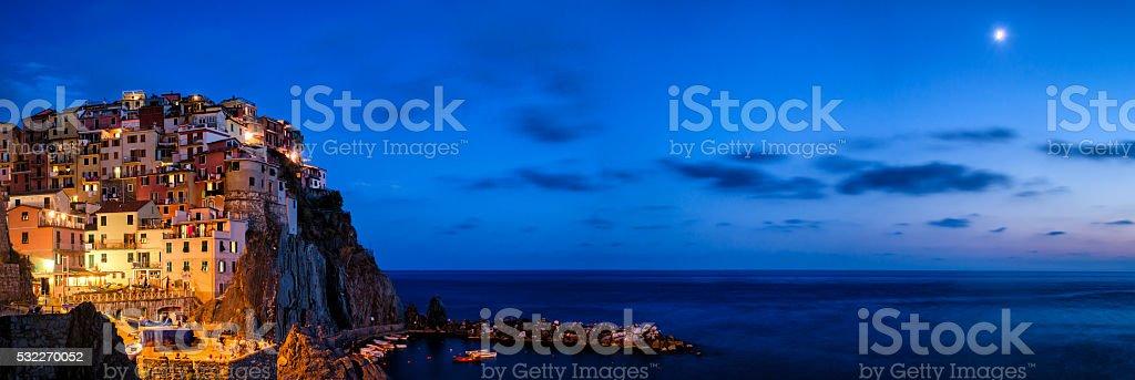 Manarola Cinque Terre (Liguria Italy) High definition panorama at twilight stock photo