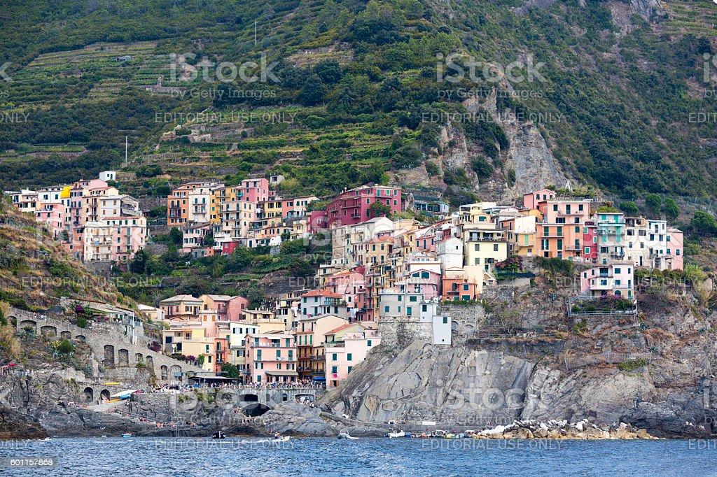 Manarola Cinque Terre Italy Summer Vacation Travel Destination stock photo