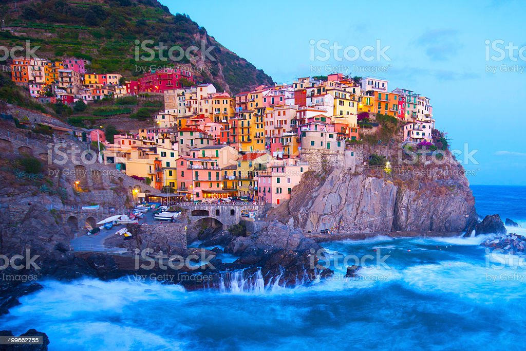 Manarola fisherman village in Cinque Terre, Italy stock photo