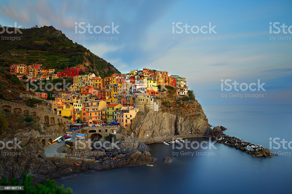 Manarola in sunset, Italy stock photo