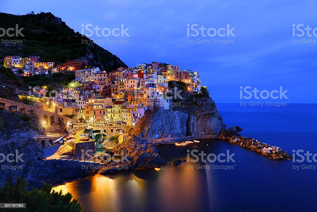 Manarola in the evening, Italy stock photo