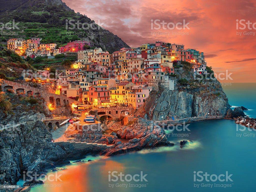 Manarola Italy (cinque terre) stock photo