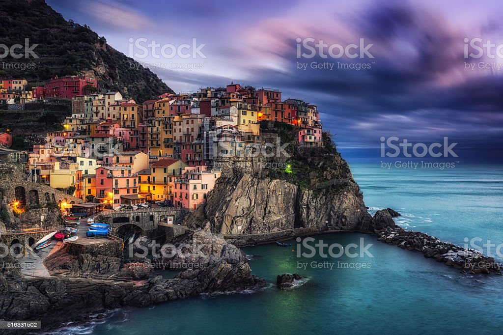 Manarola Magic during sunset hours stock photo
