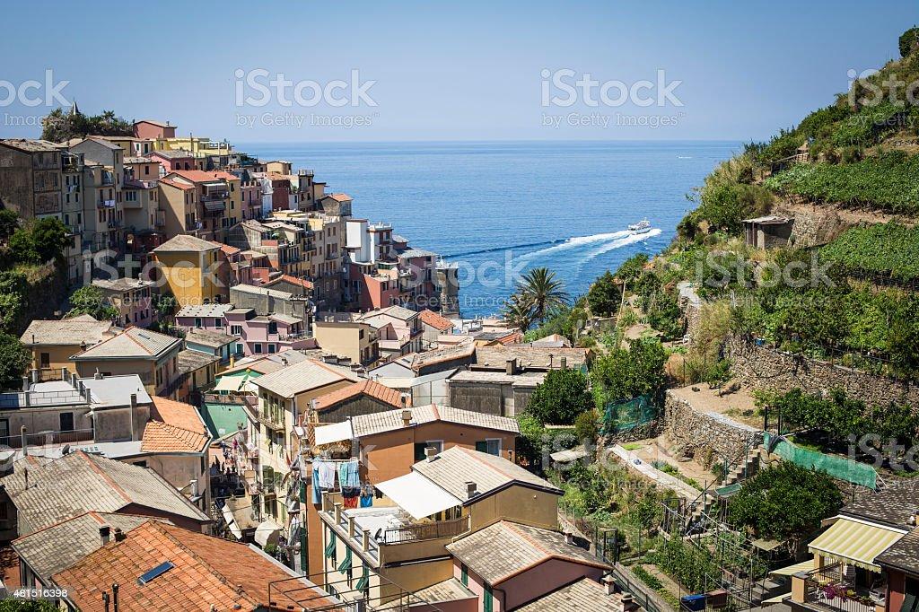 Manarola town in Cinqueterre in Italy stock photo
