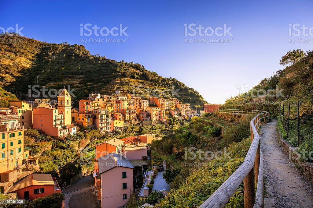 Manarola village, trekking trail. Cinque Terre, Italy stock photo