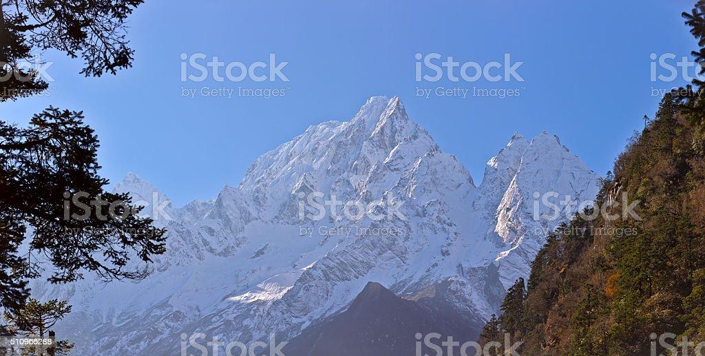 Manaslu. Everest Circuit. Nepal motives. stock photo