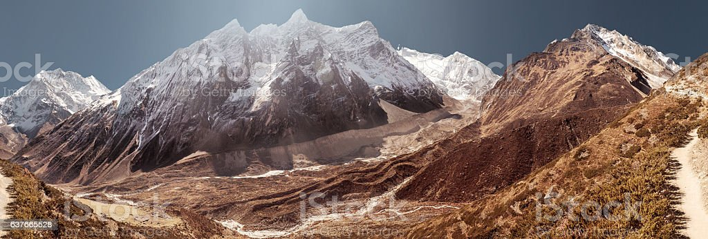 Manaslu mountain covered by white snow stock photo