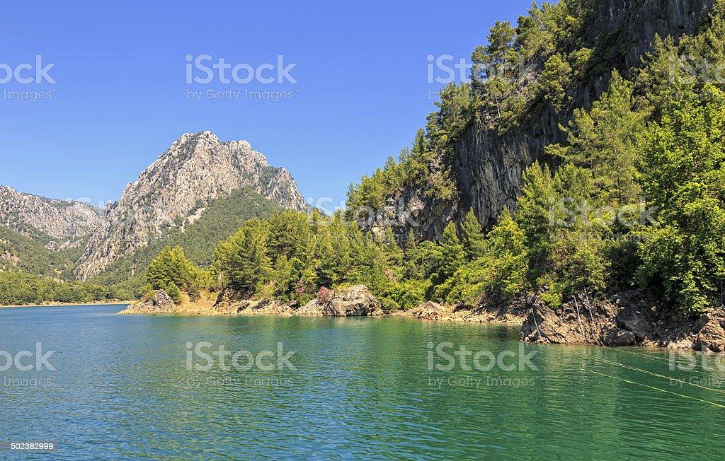 Manavgat river at Oymapinar stock photo