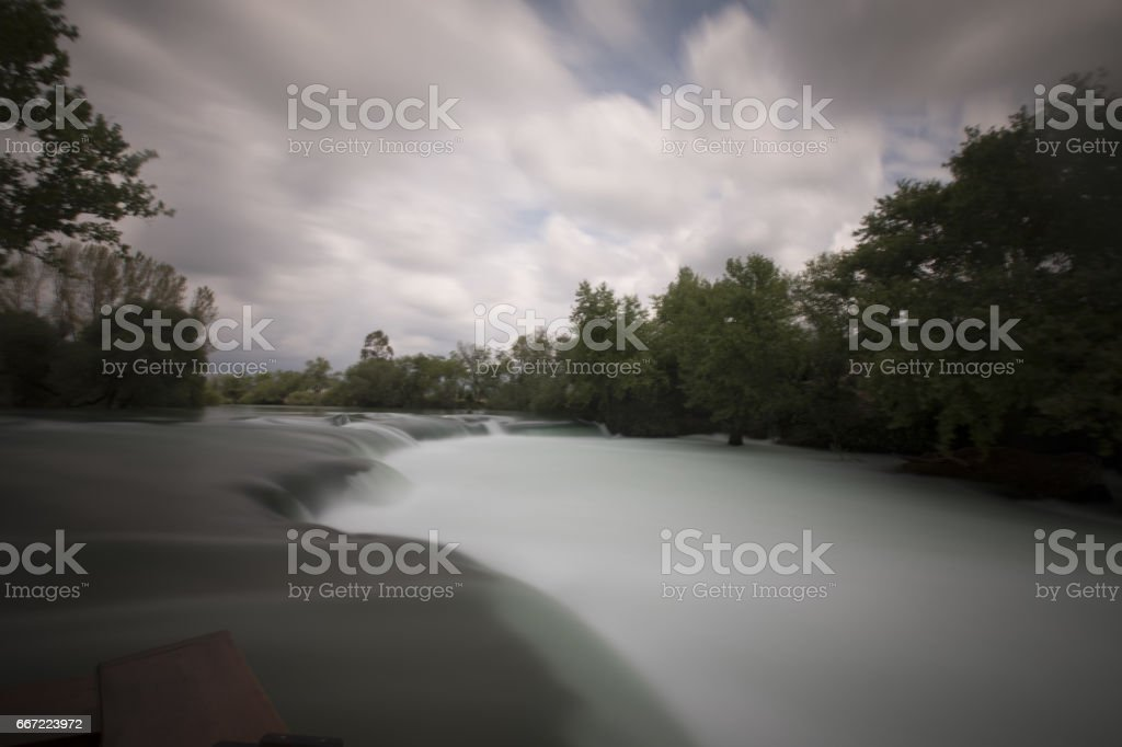 Manavgat Waterfall is located at 3 km (2 mi) north of Manavgat, Turkey stock photo
