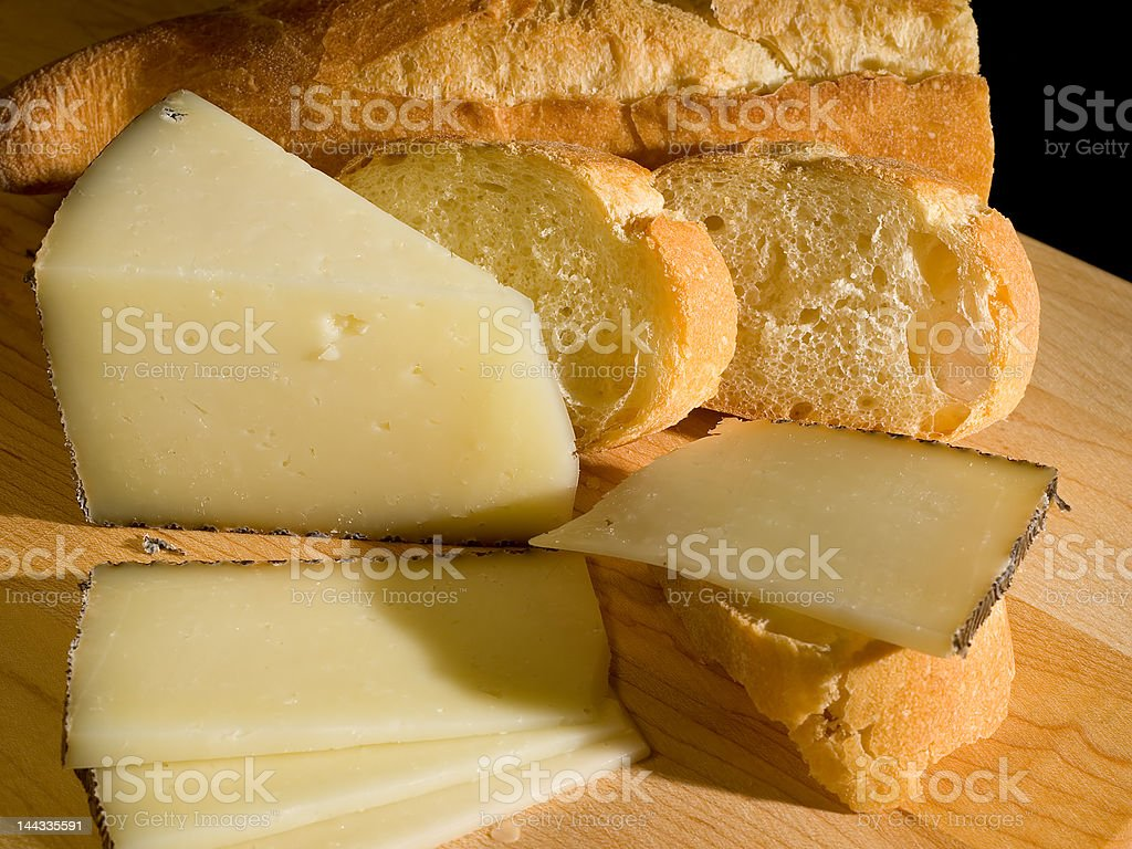 Manchego Cheese and Baguette stock photo