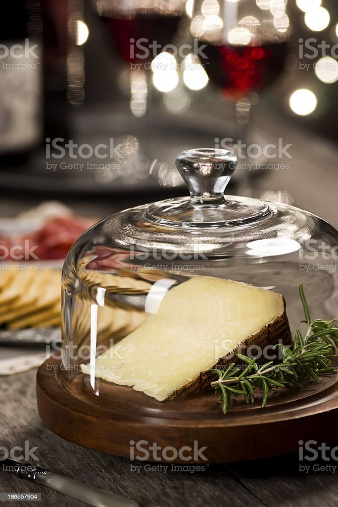Manchego Cheese at a Holiday Wine Tasting stock photo