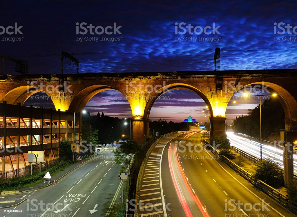 Manchester and Stockport at Dusk stock photo
