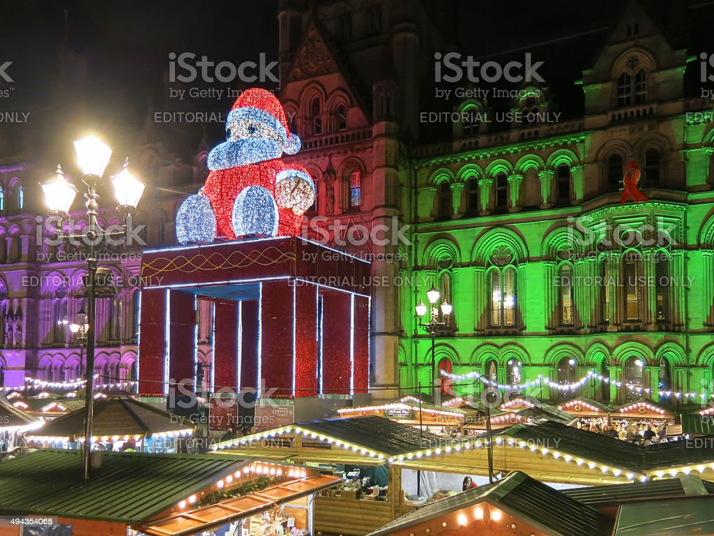 Manchester Christmas market by night, England stock photo
