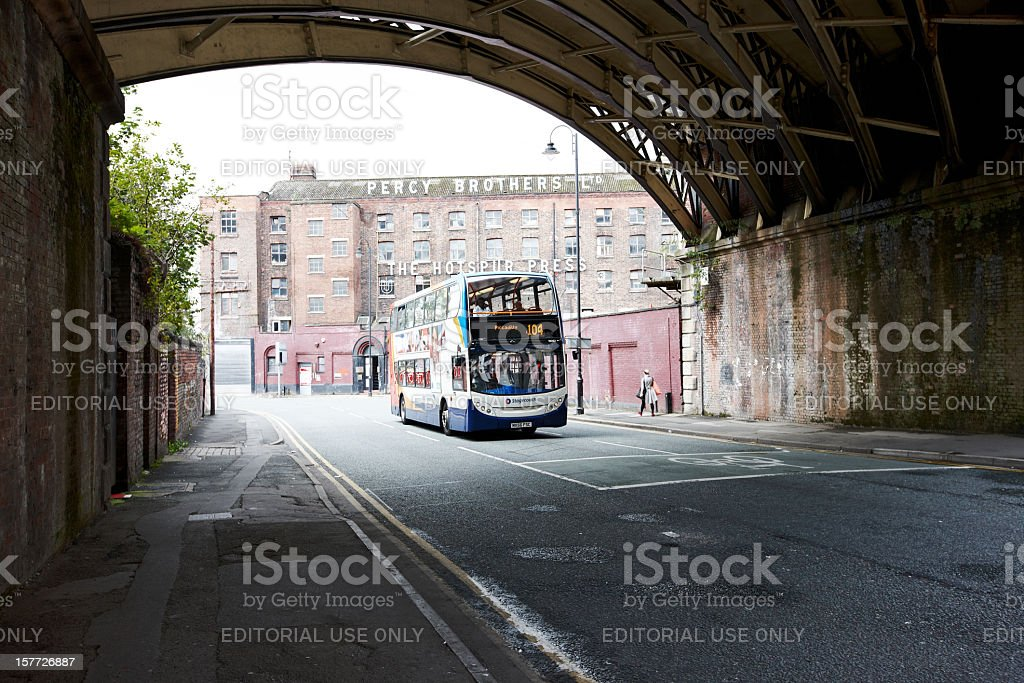 Manchester City centre doubledecker bus stock photo