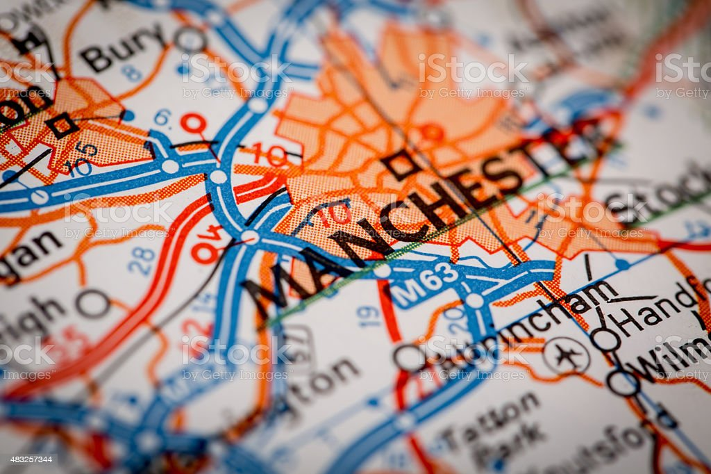 Manchester City on a Road Map stock photo