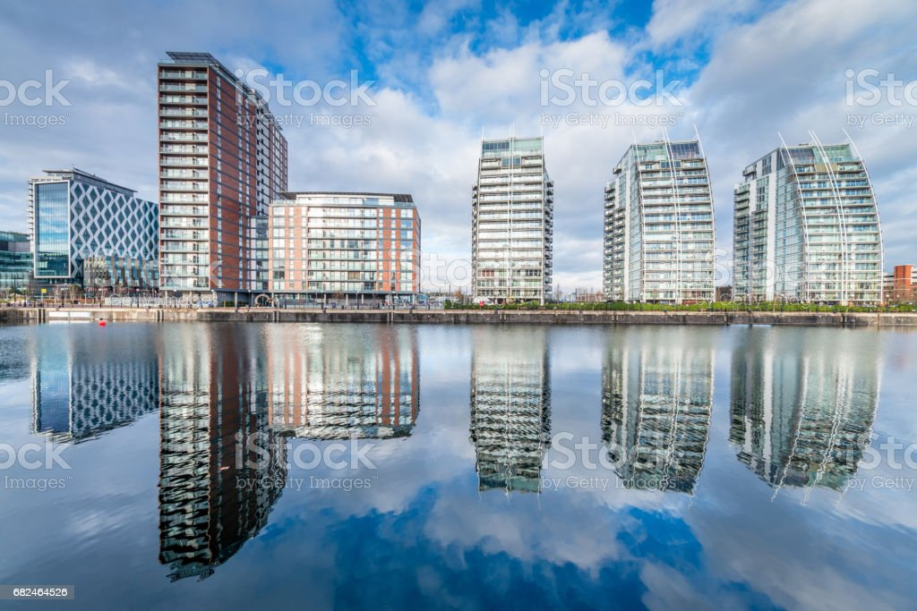 Manchester Cityscape Salford Quays Reflections UK stock photo