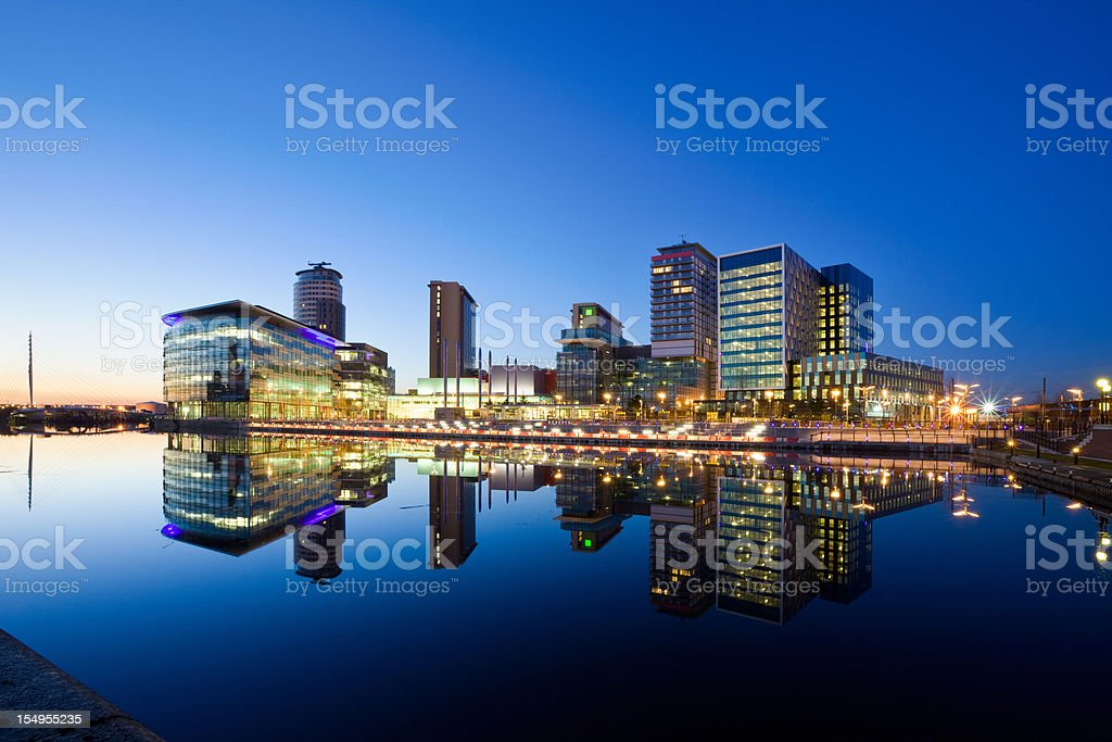 Manchester England Salford Quays Office Buildings and Apartments stock photo