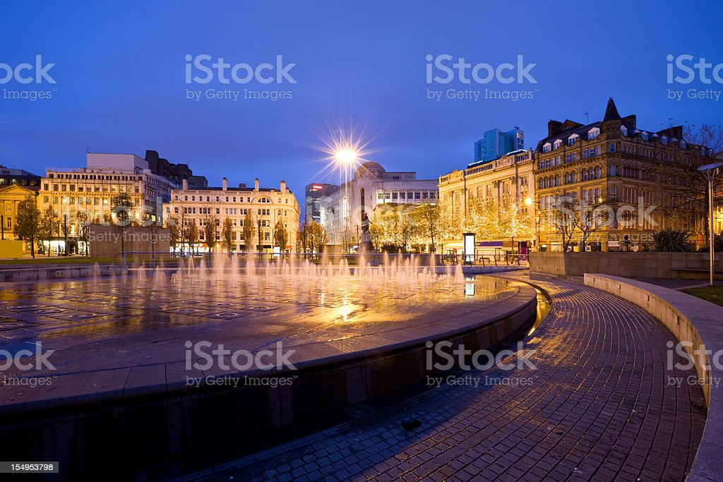 Manchester  England UK Fountain at Piccadilly Gardens stock photo