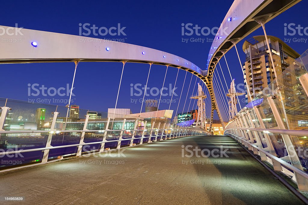 Manchester England UK Millenium Bridge stock photo