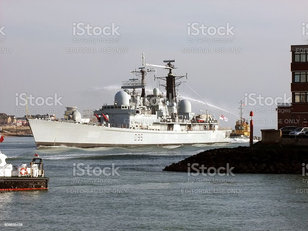 HMS Manchester Entering Portsmouth stock photo