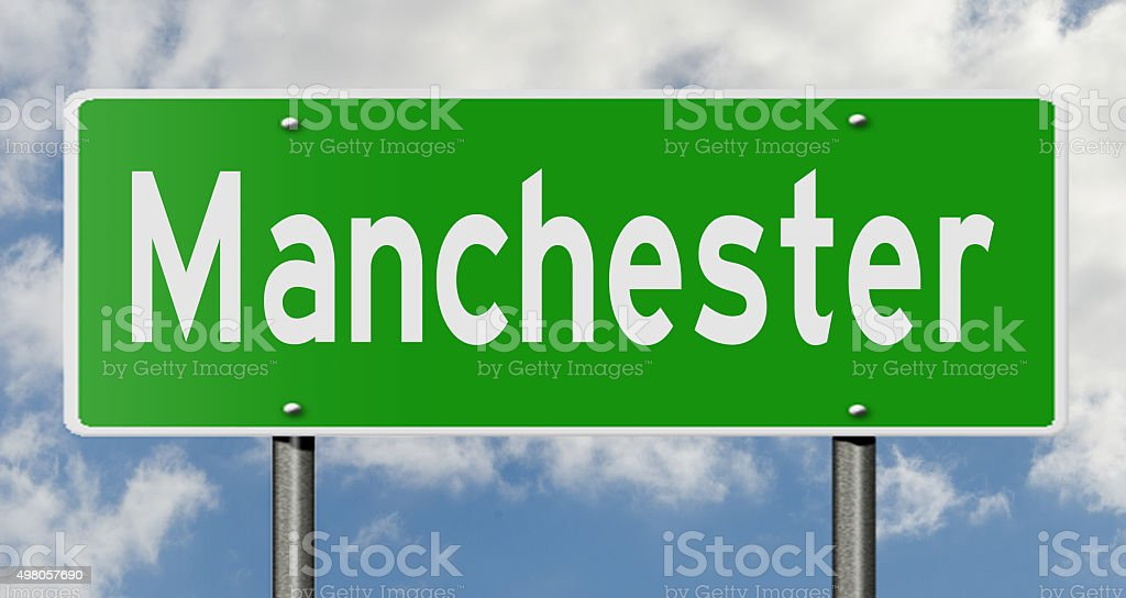 Manchester highway sign stock photo