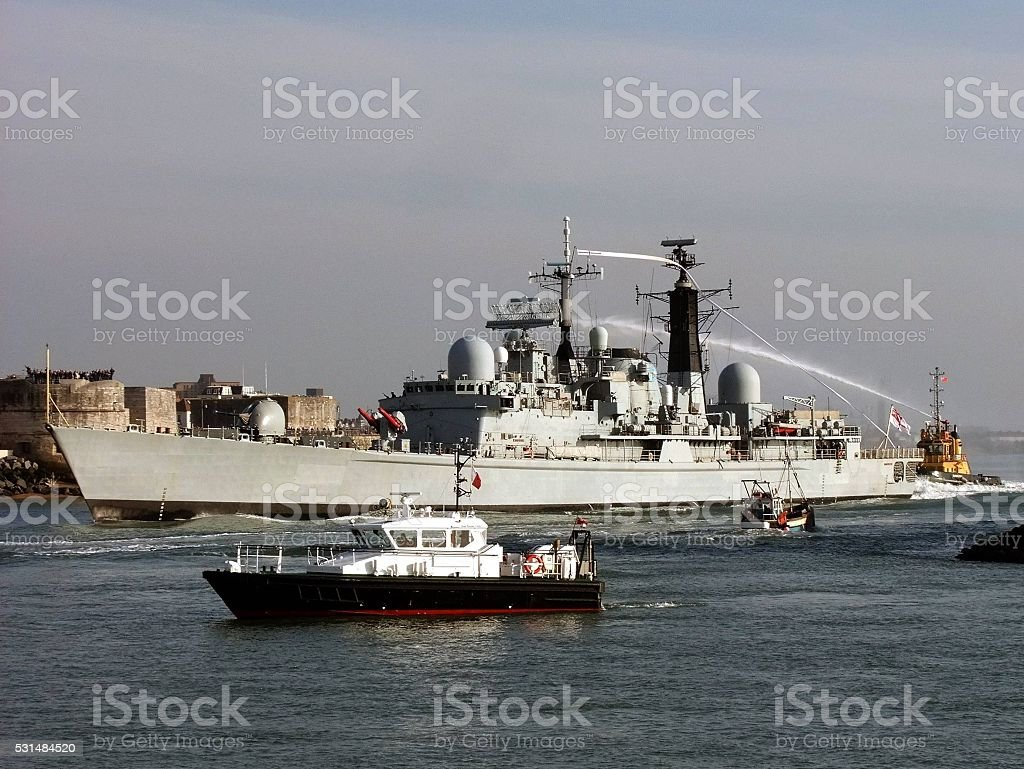 HMS Manchester Paying Off stock photo
