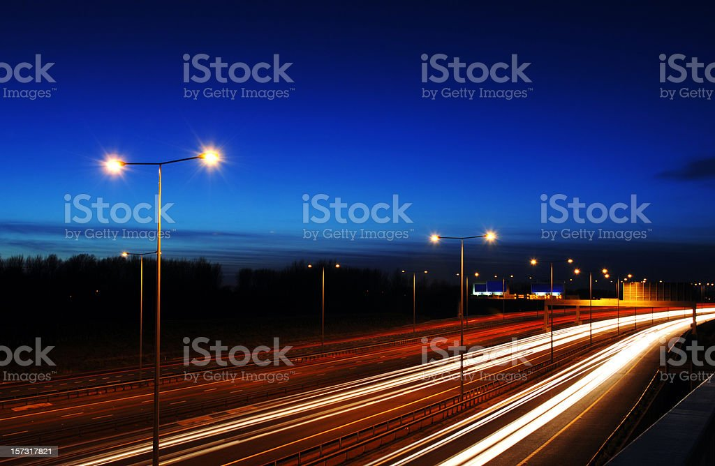 Manchester Rush Hour at Dusk with Traffic Trails royalty-free stock photo