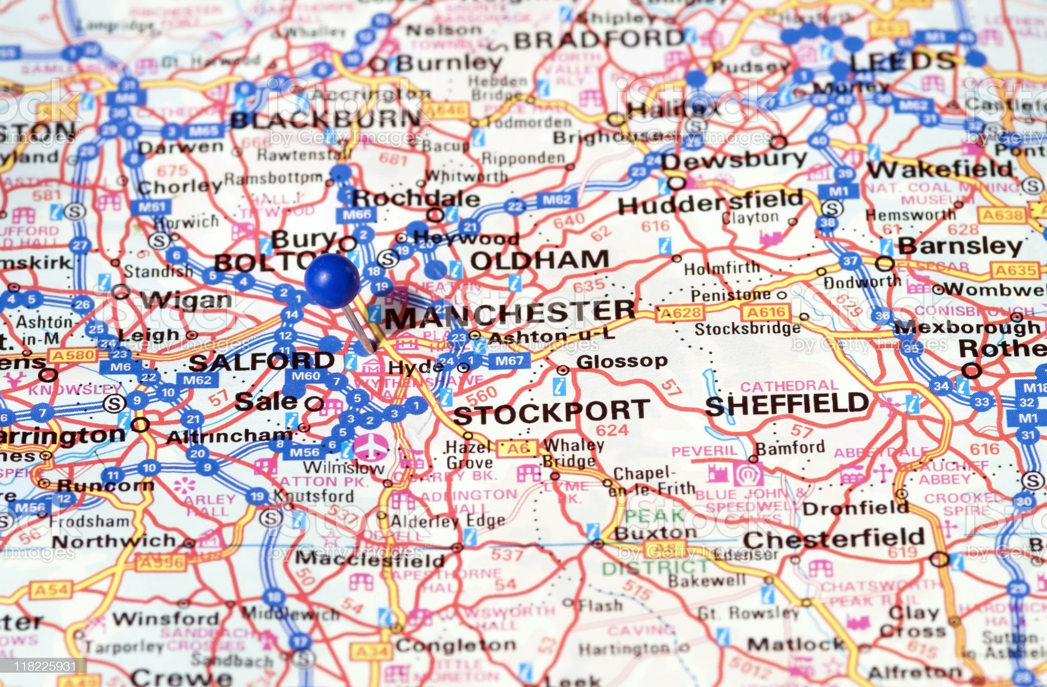 Manchester. Thumbtack in map. Travel destination. royalty-free stock photo