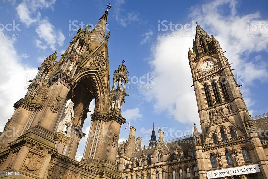 Manchester Town Hall, gothic style. England stock photo