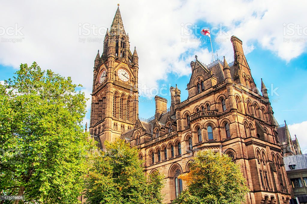 Manchester Town Hall stock photo