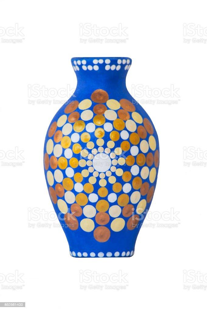 Mandala jug on white background stock photo