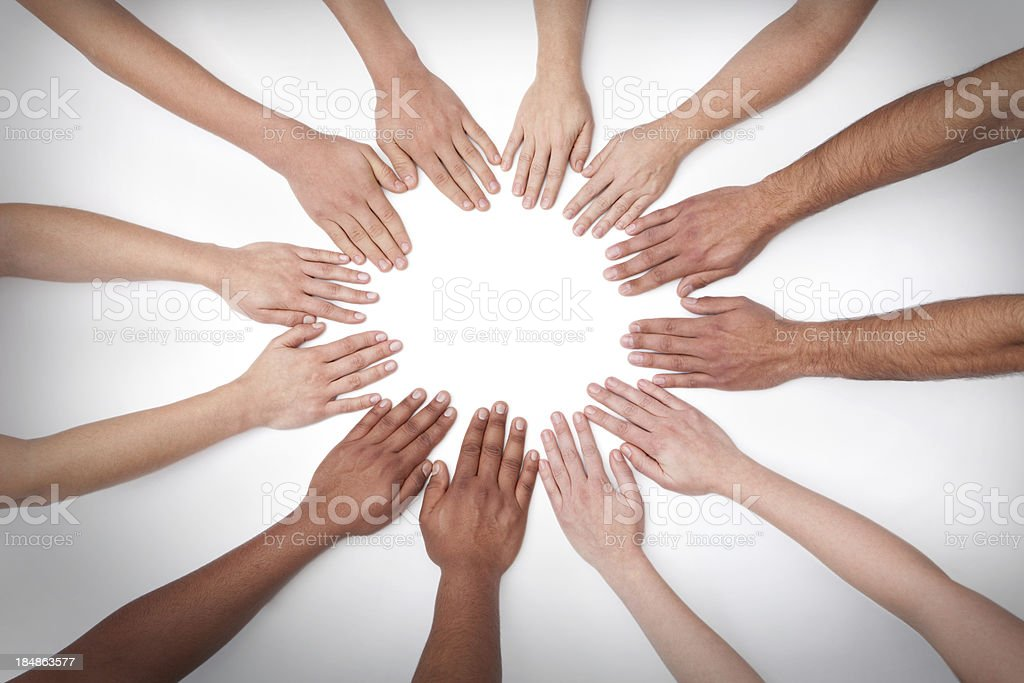 Mandala of 12 Hands stock photo