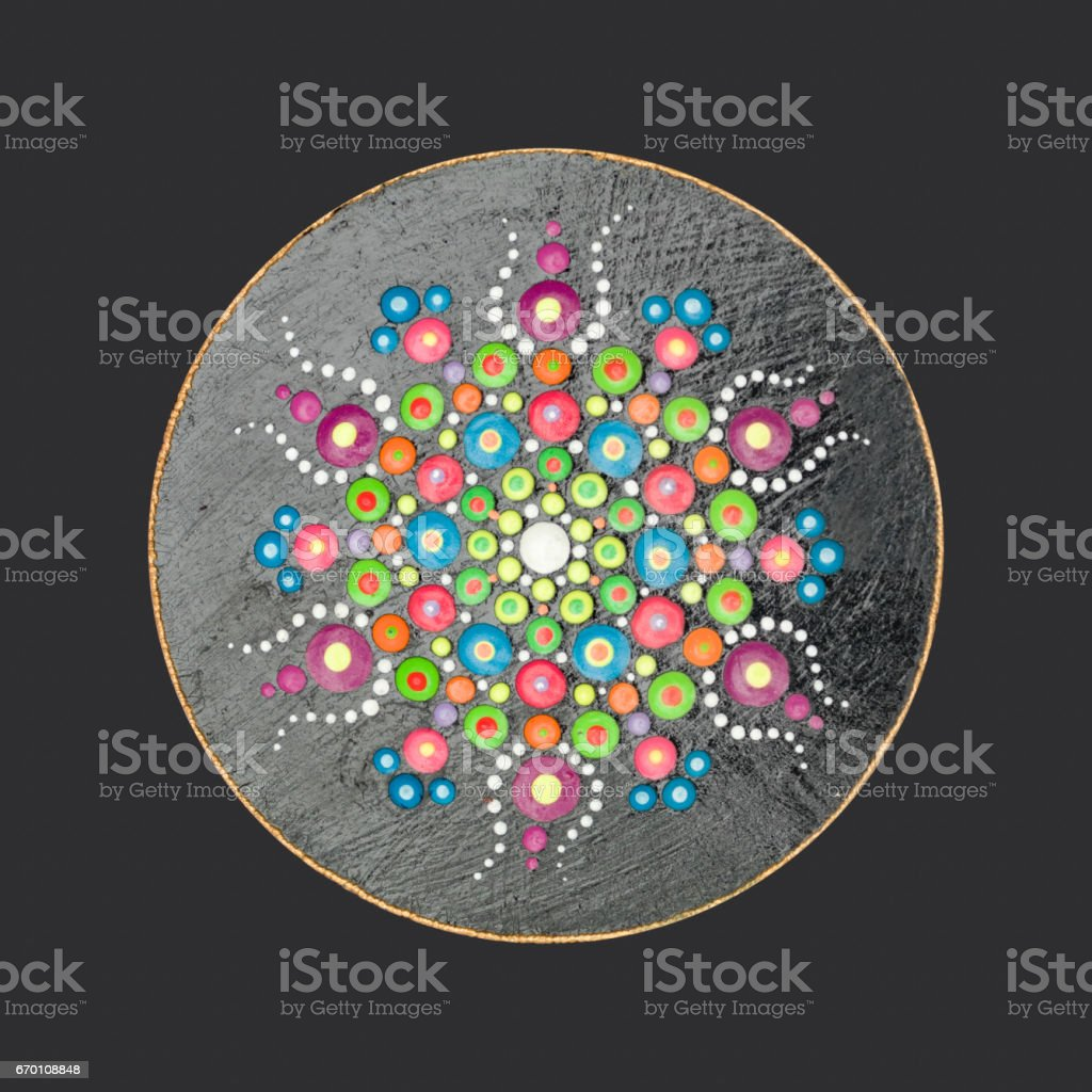 Mandala on wood stock photo