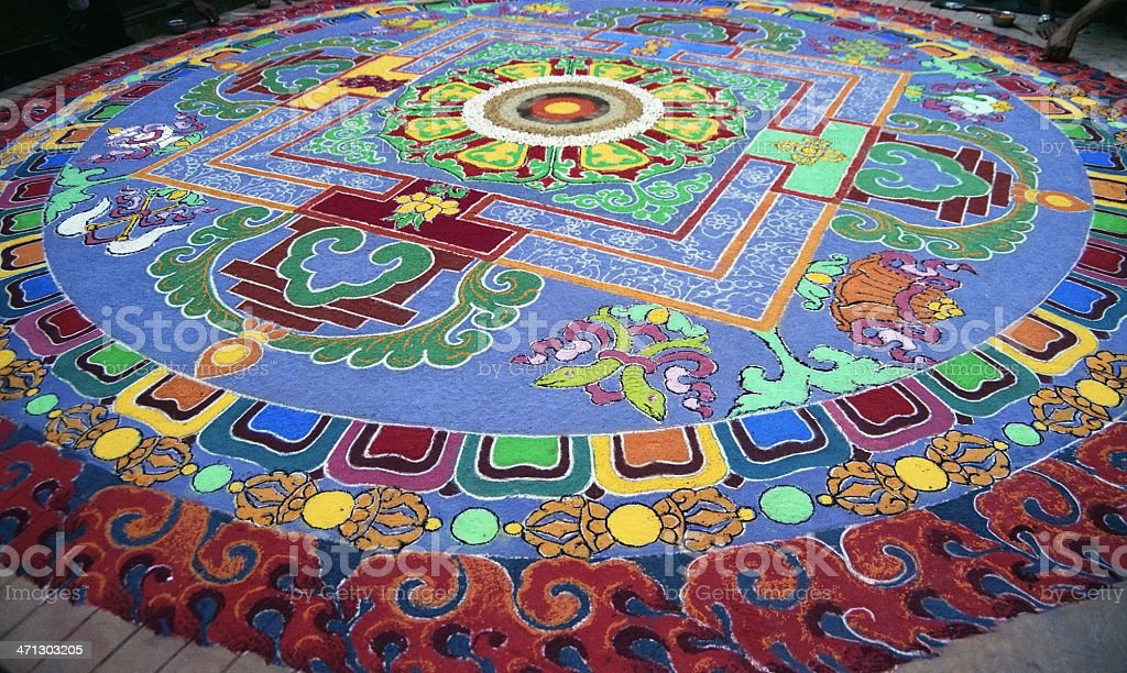 Mandala With Colored Sand royalty-free stock photo