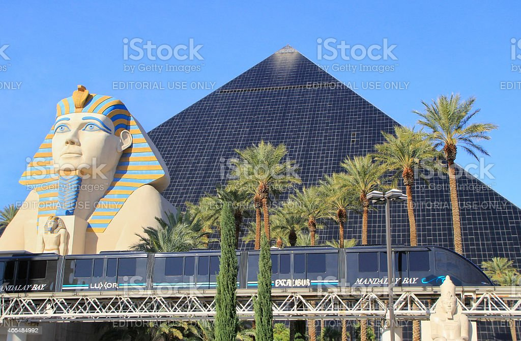 Mandalay Bay tram in front of Luxor hotel and casino stock photo