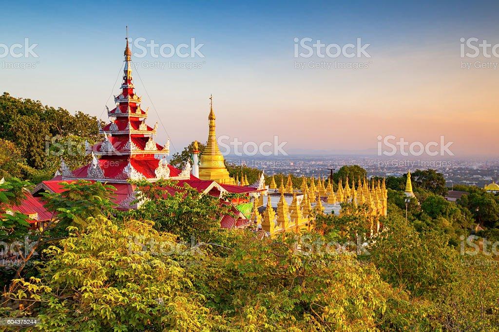 mandalay hill at sunset, Myanmar stock photo