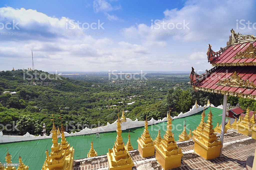 Mandalay Hill is a major pilgrimage site in Myanmar stock photo