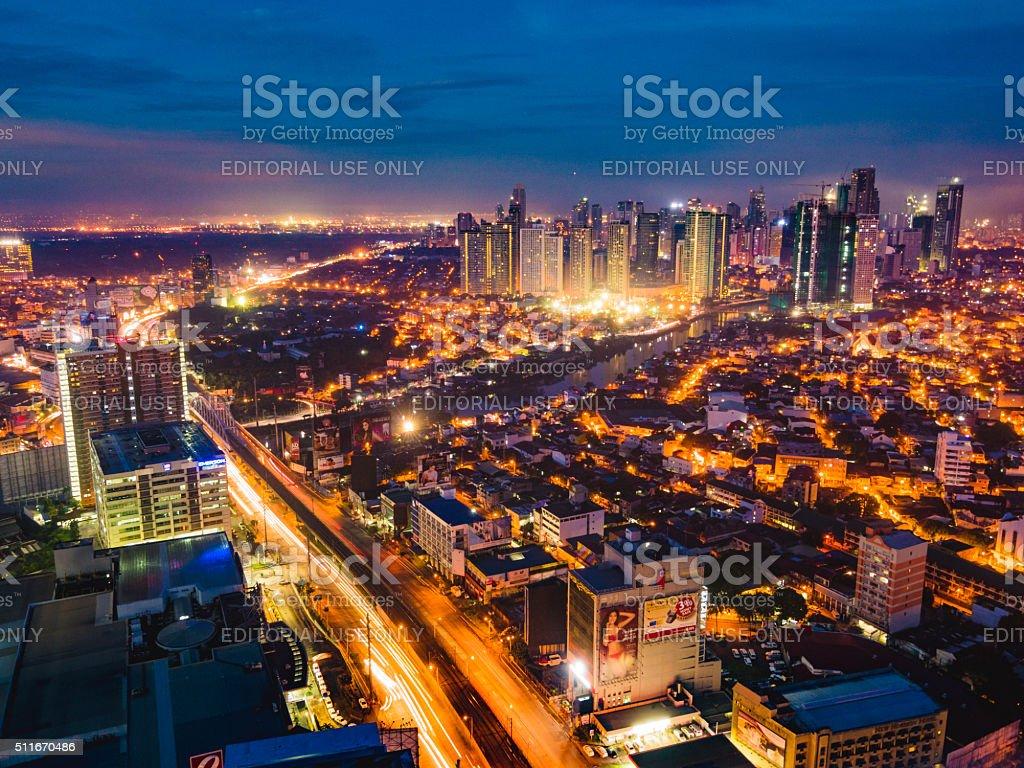 Mandaluyong City and Pasig River at night stock photo
