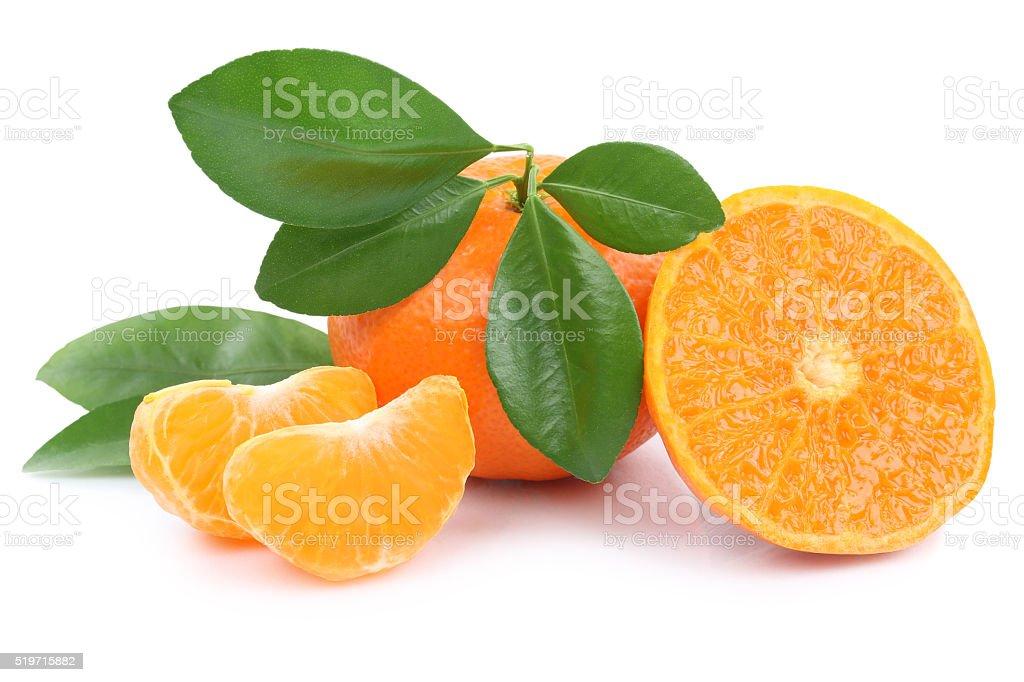 Mandarin orange mandarins fruit fruits tangerine tangerines isolated stock photo