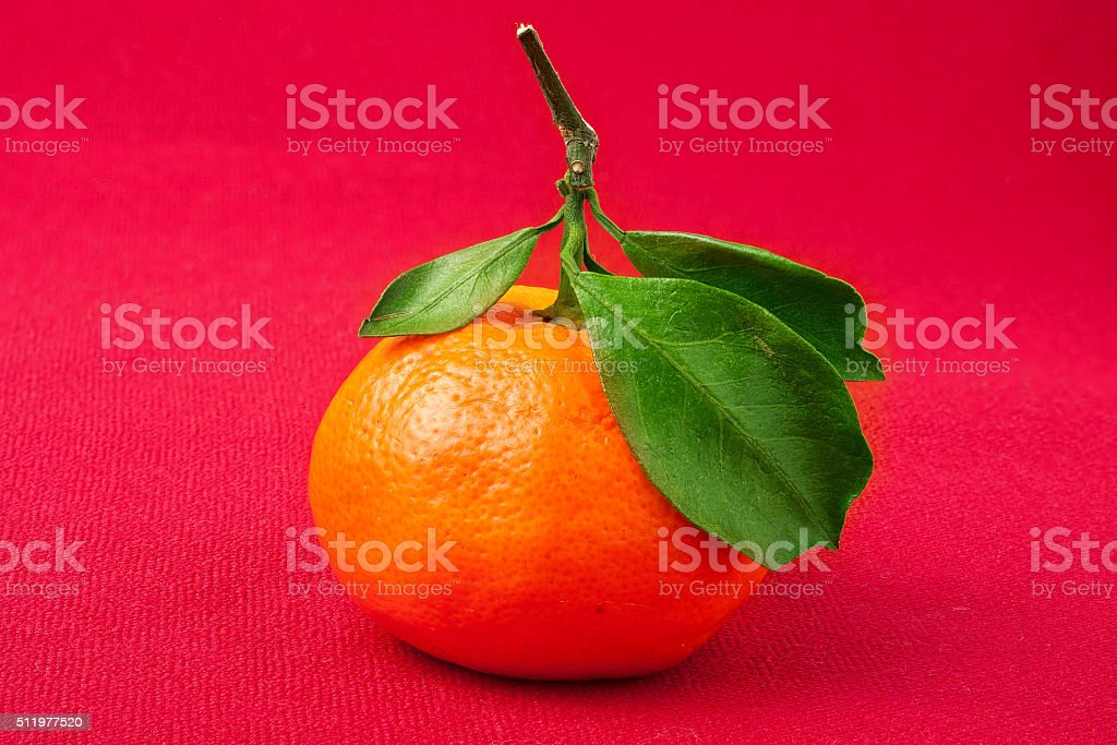 Mandarin Orange,  with green leaf, isolated on red background stock photo
