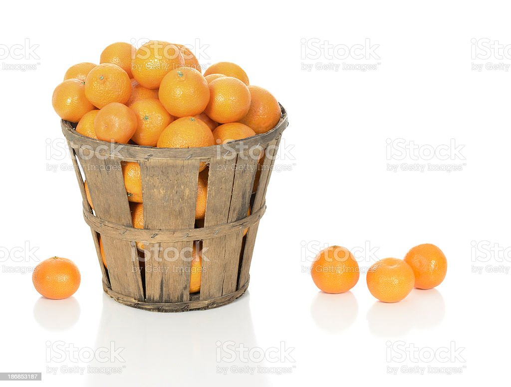 Mandarin Oranges in a Rustic Basket stock photo