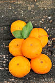 mandarins on the old wooden background
