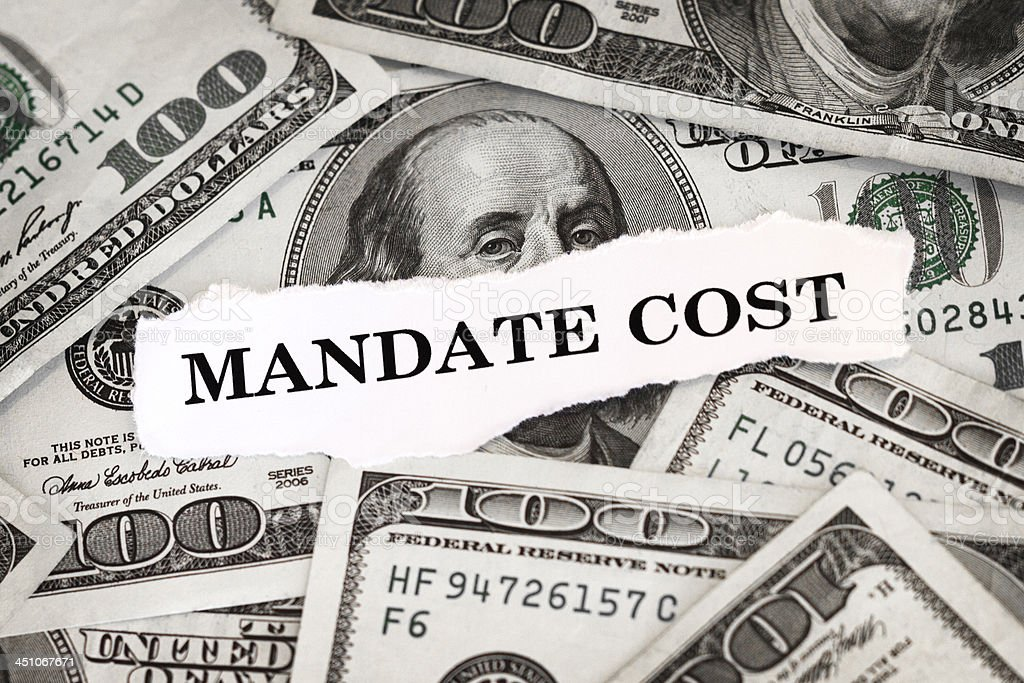 Mandate Cost stock photo