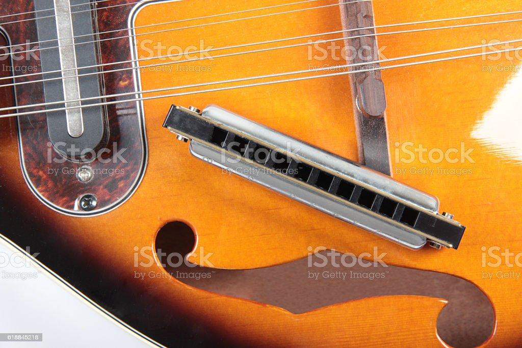 Mandolin and harp stock photo